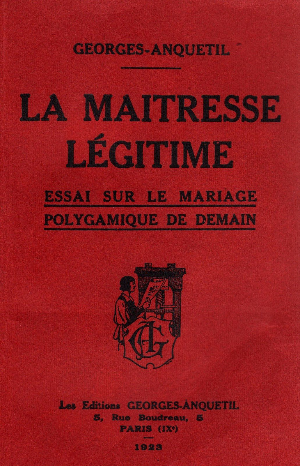 "Georges-Anquetil ""La Maitresse Self - Test on polygamous marriage tomorrow"" (Editions Georges-Anquetil - 1922)"