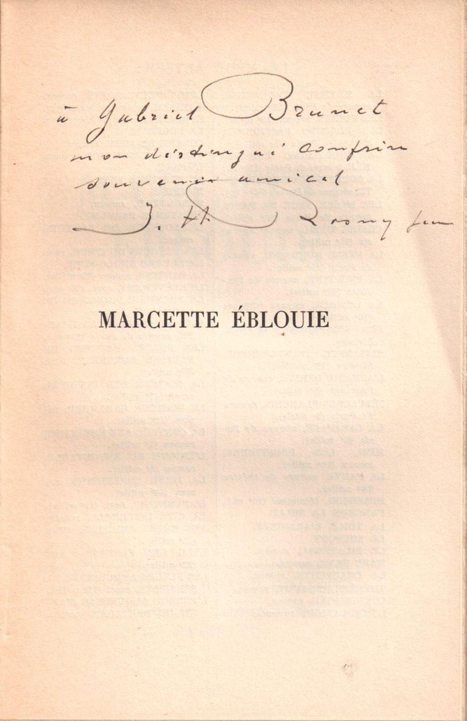 """J.-H. Rosny Jeune """"Marcette éblouie"""" (Grasset - 1935) [Service de presse]"""