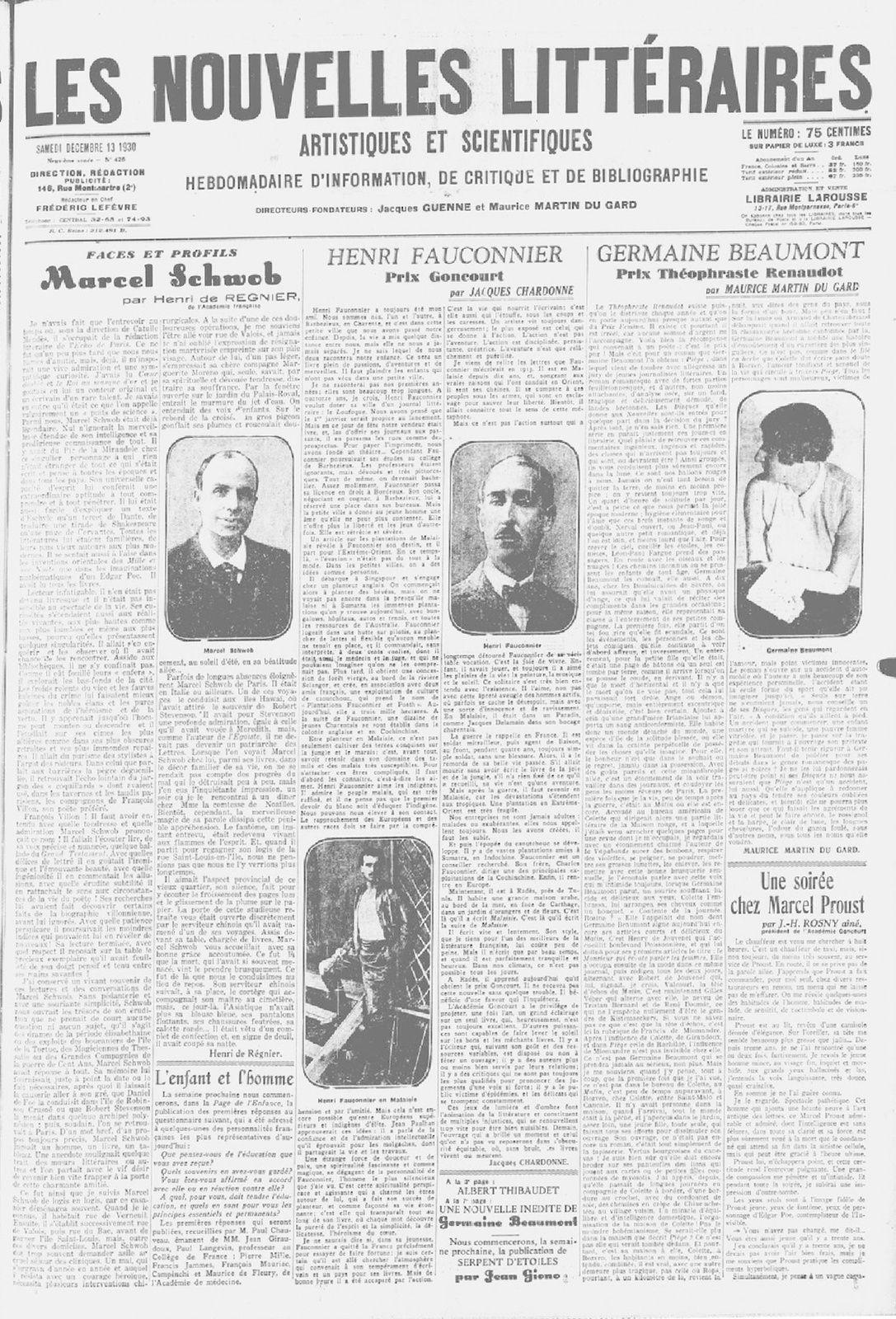 """J.-H. Rosny aîné """"Une soirée chez Marcel Proust"""" in Les Nouvelles littéraires n°426 du 13 décembre 1930"""