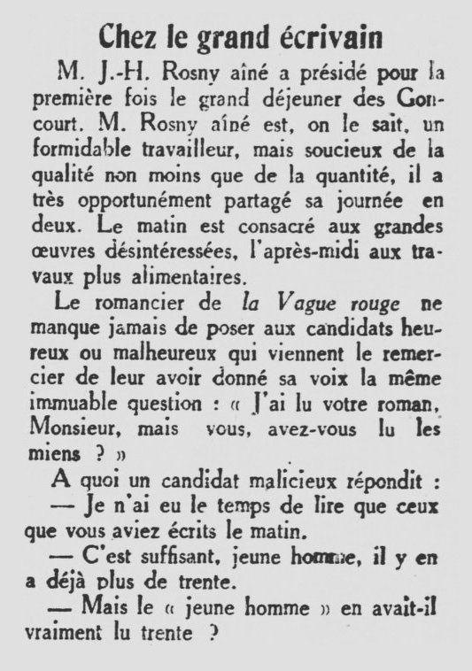 Brève : Chez le grand écrivain : J.-H. Rosny aîné (1926)