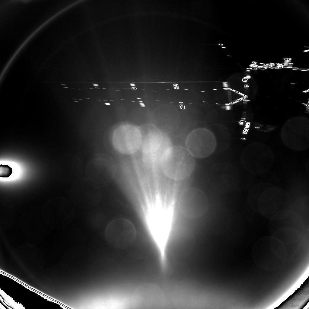 """Vue de Rosetta (panneau solaire"""" prise par Philae lors de son larguage"""