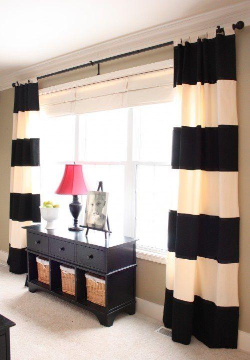 Quelques idées de rideaux rayés glanées sur Pinterest. Enjoy!