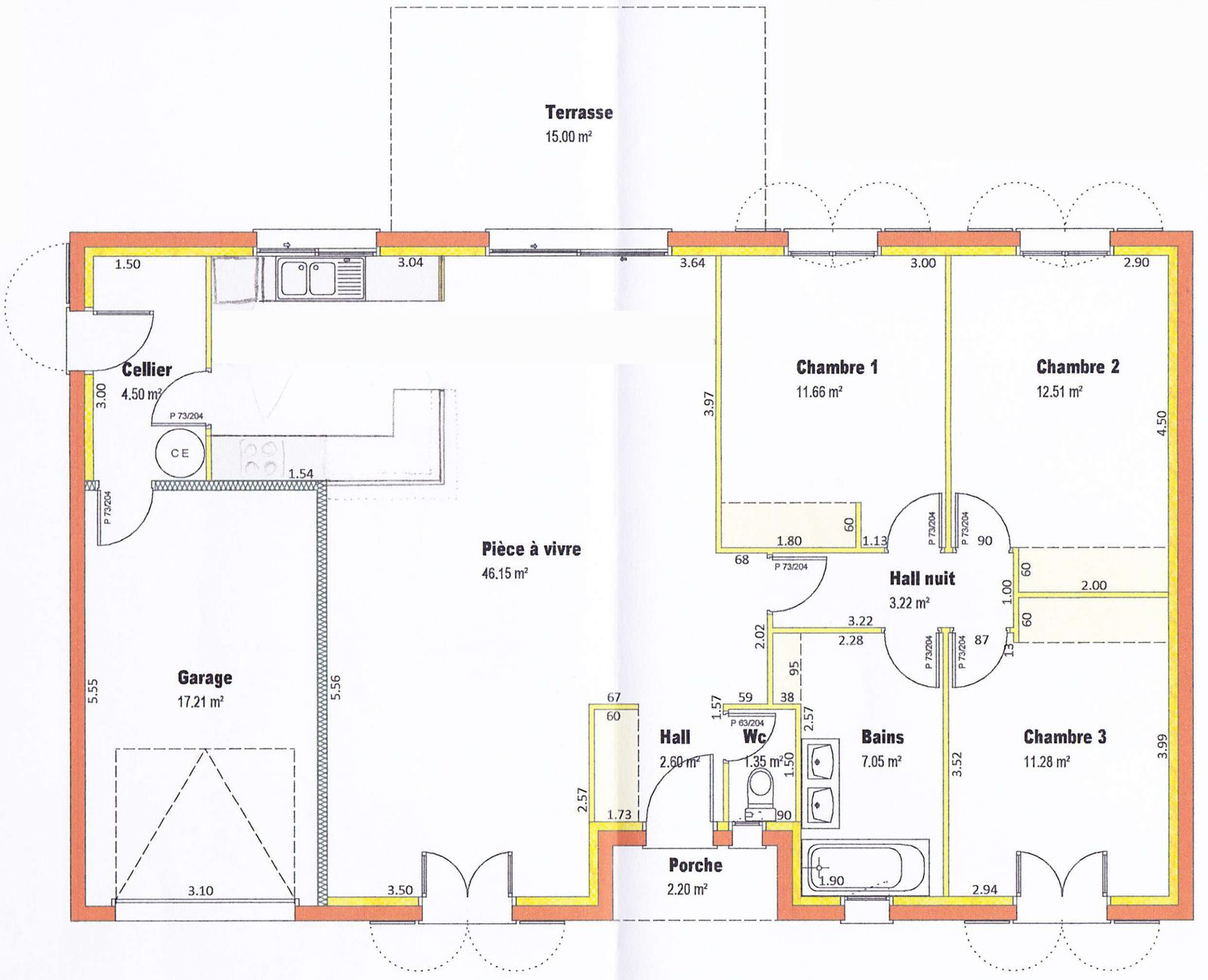Le plan for Plan interieur maison en u