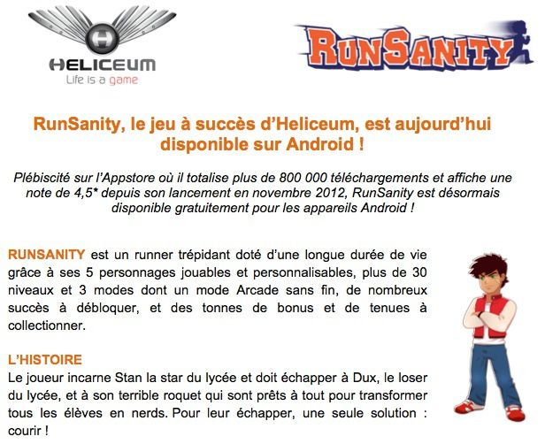 RunSanity disponible sur Android