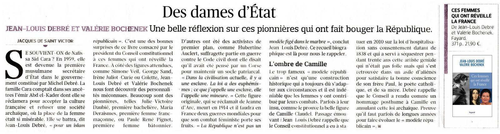 """Le Figaro du 14 février : """"Des dames d'État"""" par Jacques de Saint Victor"""