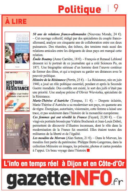 &quot&#x3B;Des femmes essentielles dans la modernisation de la France&quot&#x3B; - Gazette de la Côte d'Or du 31 janvier