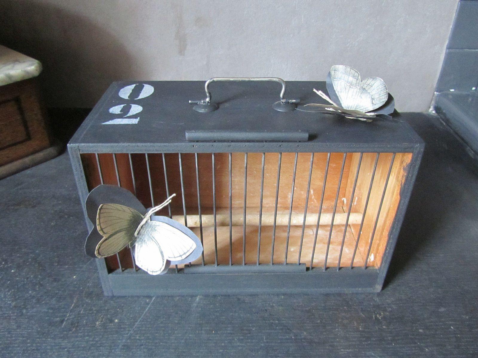 petite cage de transport d'oiseau (avec ses deux papillons papier)