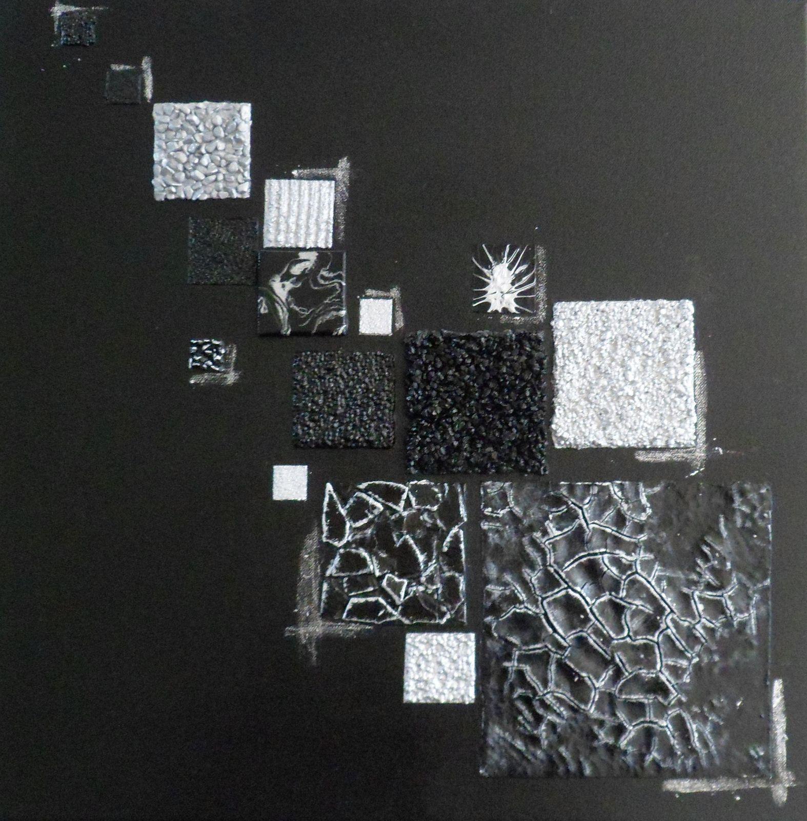 Peinture Abstraite Noir Argent Argenté Motifs Géométriquesm