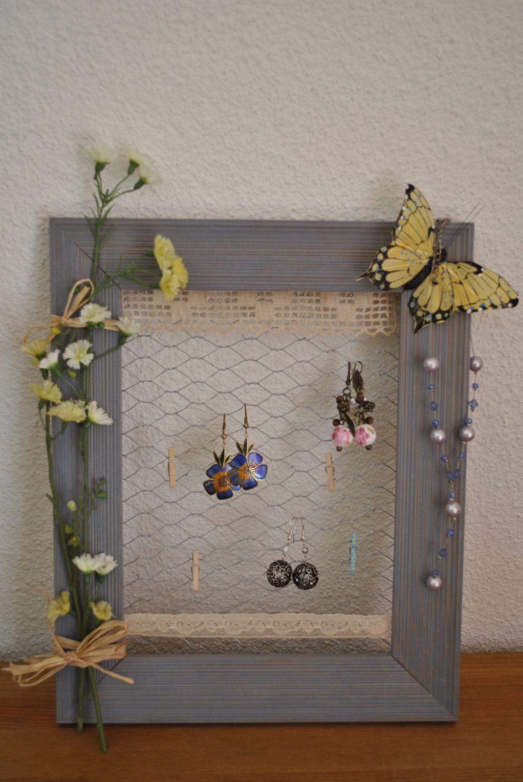 Cadre porte bijoux fleur bleue - Dimension cadre porte ...