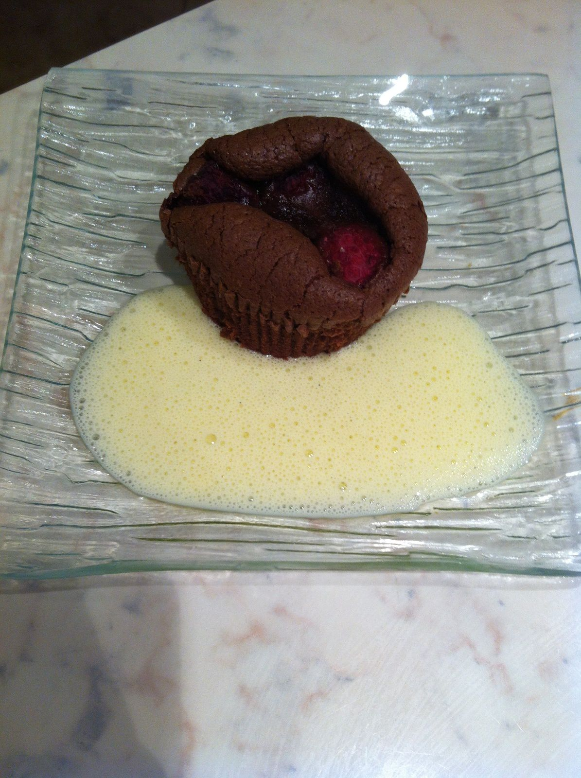 Muffins chocolat framboise et sa crème anglaise (thermomix)