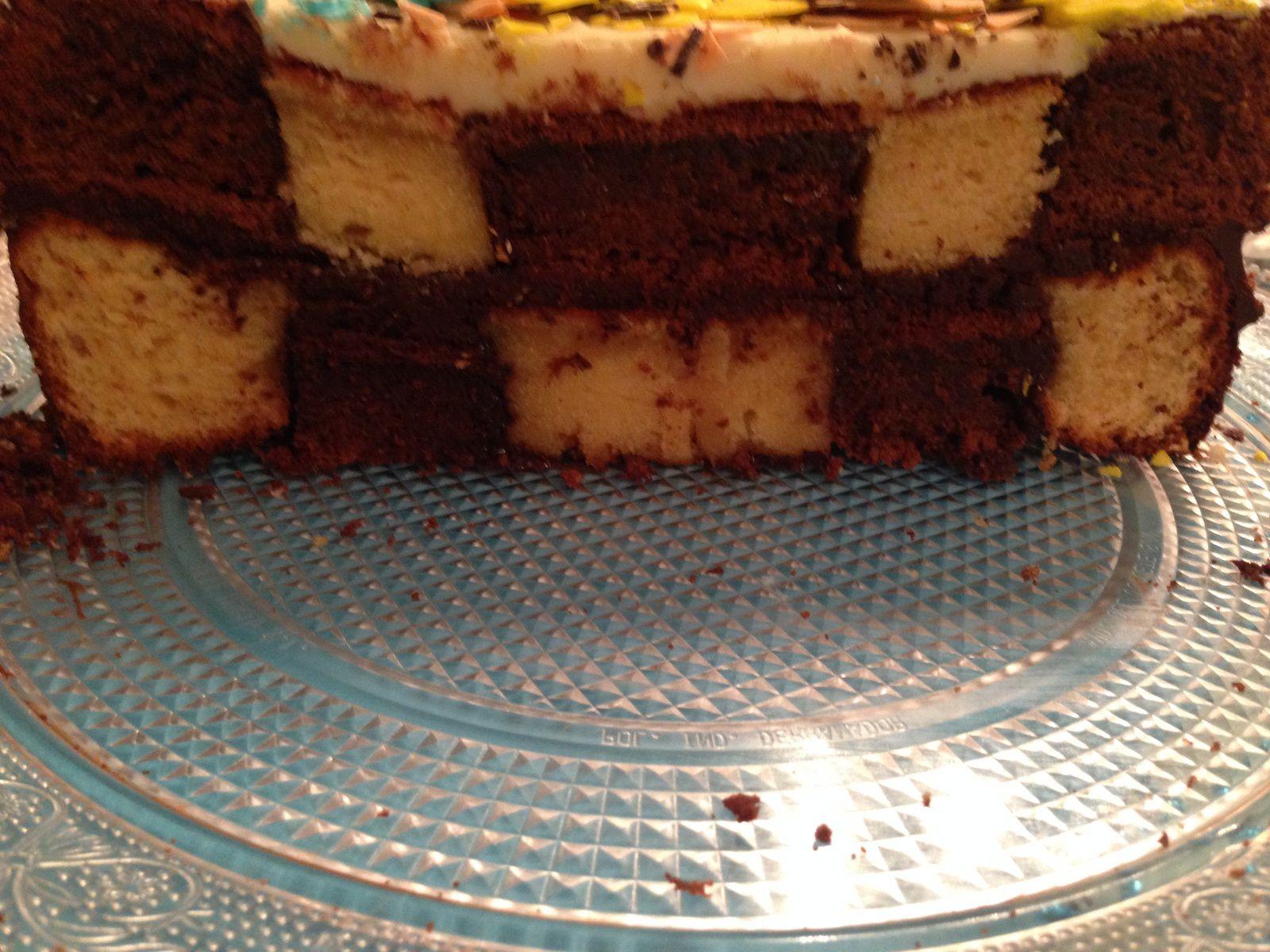 gateau damier cholat blanc chocolat noir