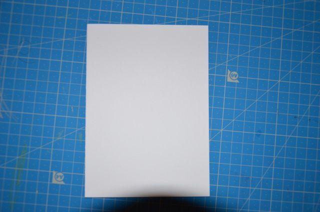 Prendre une carte pollen blanche de format 11x15.5cm et l'utiliser dans le sens de la hauteur