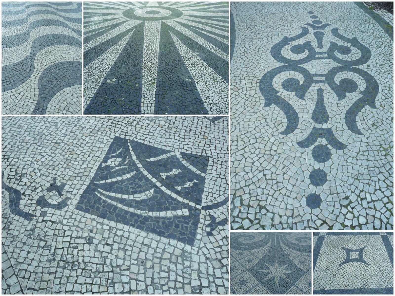 """Tous les trottoires de Lisbonne sont pavés, mais pas """"simplement pavés"""", non ils sont pavés en noir et blanc, selon de nombreux motifs, différents selon les quartiers, les rues, les places,..."""