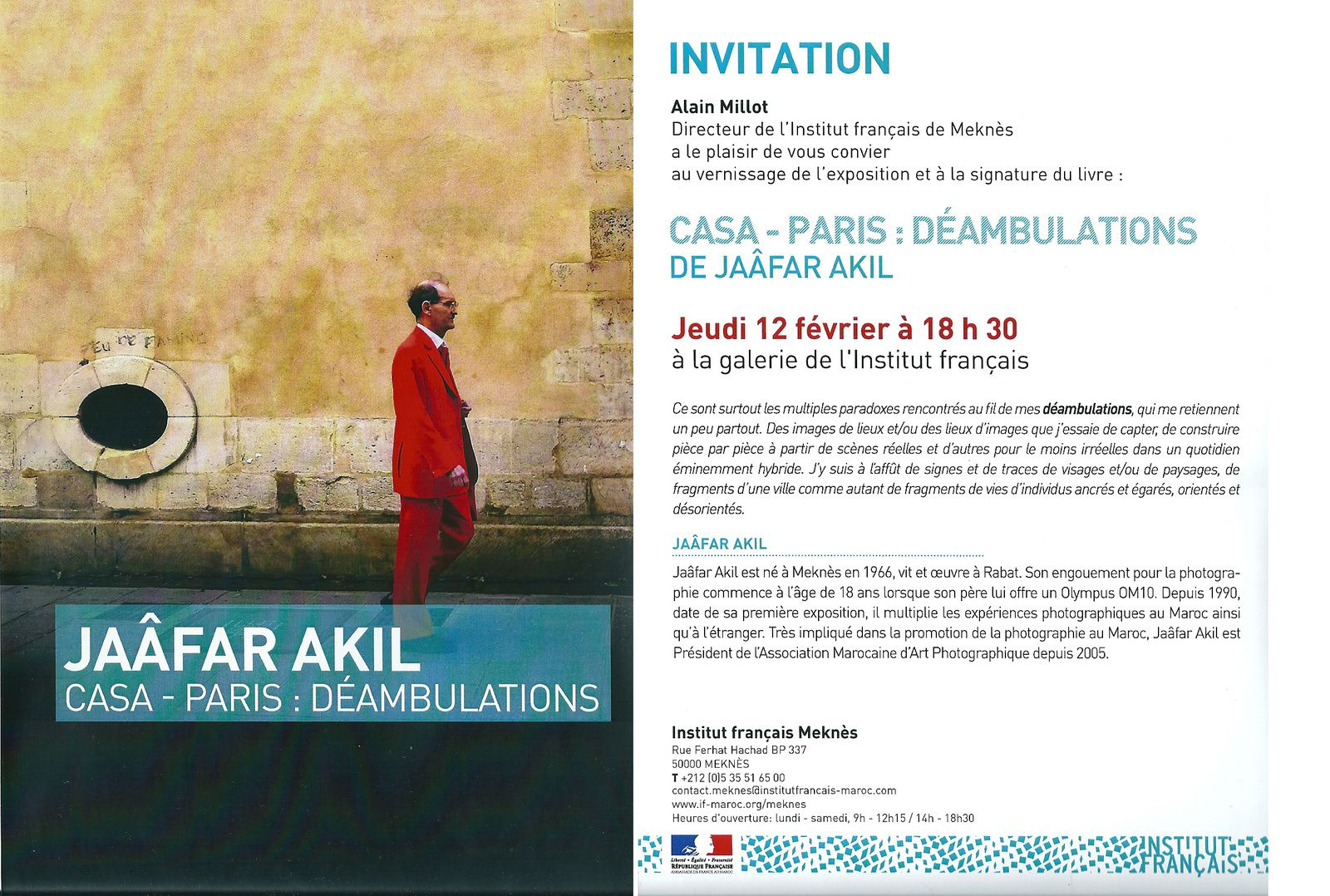 Vernissage et signature du livre «Casa – Paris : Déambulations» du photographe Jaâfar Akil
