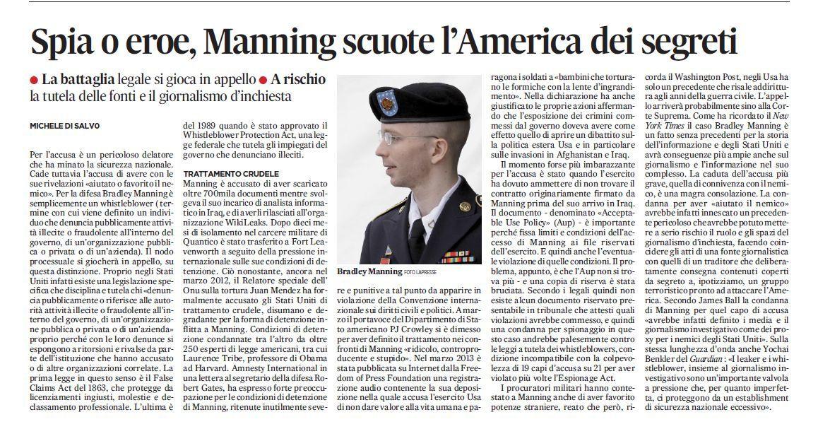 Manning tra spia ed eroe