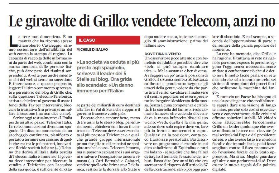 Grillo, la Telecom e la rete che non dimentica