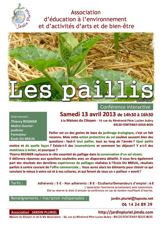 Initiative en transition: Conférence 'Les paillis' du 13 avril à la MDCVA