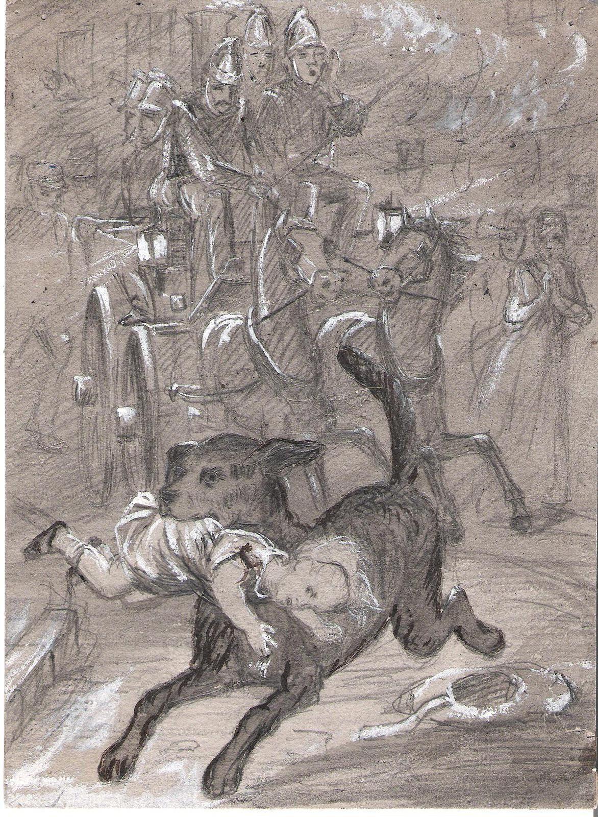 aquarelle pompiers (Charles Joseph Staniland )