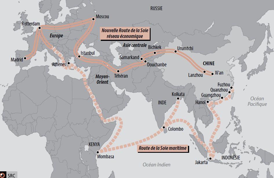 Les nouvelles Routes (maritimes et terrestres) de la Soie (© blogdéfense)