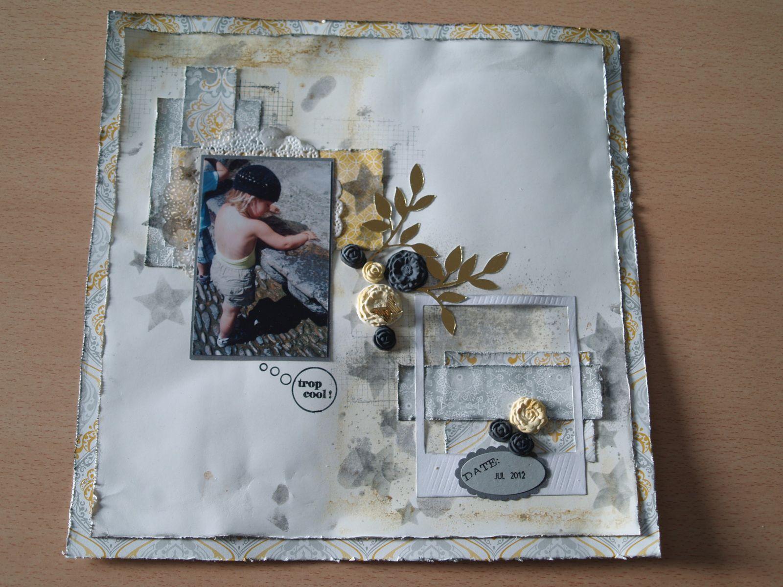 """Papiers cartonnés murmure blanc et ardoise bourgeoise&#x3B; Framelits """"C'est dans la boîte"""",""""çà bulle"""", """"Pour aller danser"""" et rameau d'olivier&#x3B; papiers imprimés Elégance levantine et Douce esquisse&#x3B; papier argile&#x3B; sets de tampons """"Agréables pensées"""", """"Bright Blossoms"""" et """"çà bulle""""&#x3B; tampon rotatif This and That&#x3B; ruban argent."""
