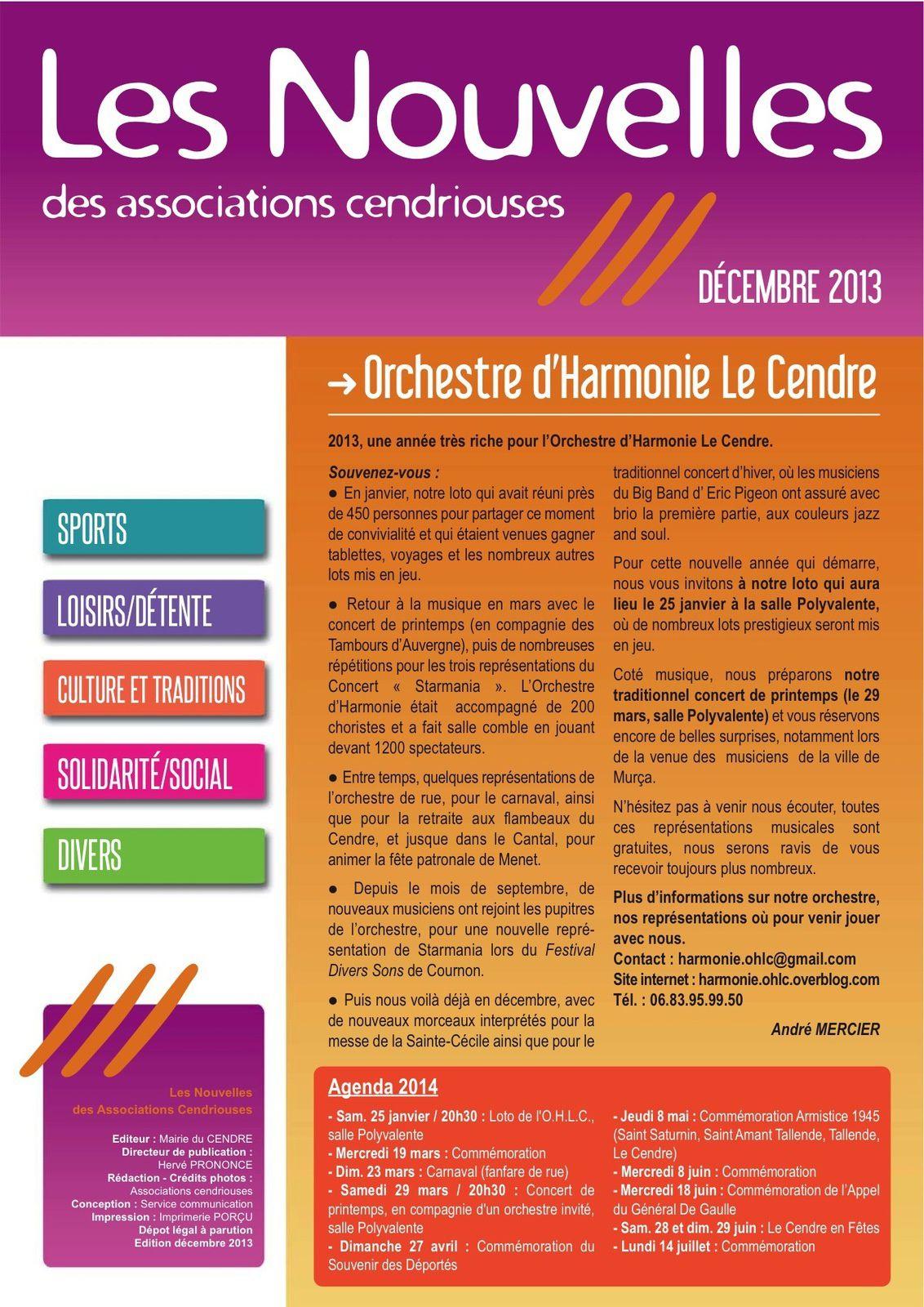 Les Nouvelles des Associations Cendriouses - Décembre 2013