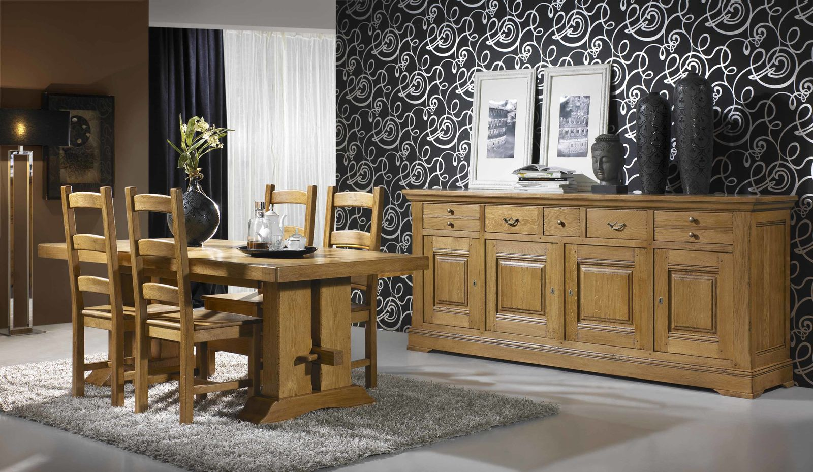 meubles rustiques en ch ne massif. Black Bedroom Furniture Sets. Home Design Ideas