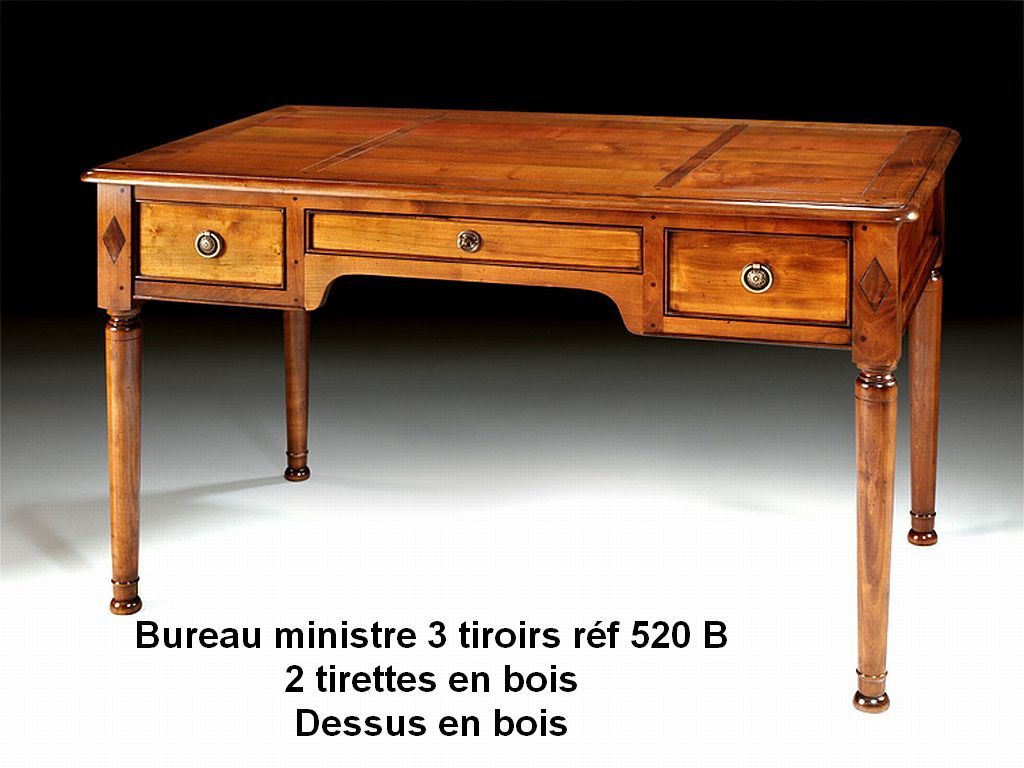 bureau ministre 3 tiroirs en merisier massif prix fabriquant. Black Bedroom Furniture Sets. Home Design Ideas