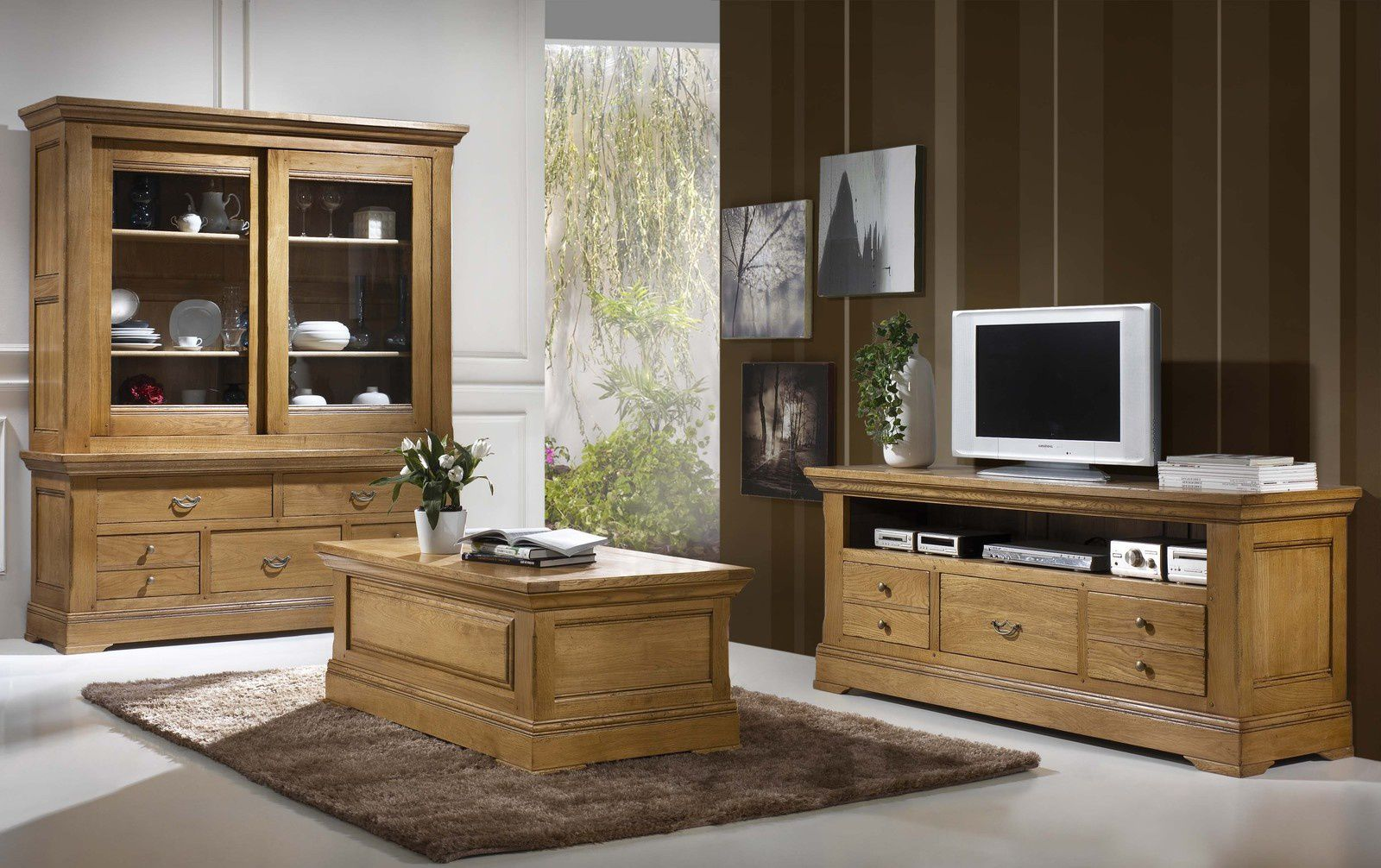 salle manger campagne rustique en ch ne massif. Black Bedroom Furniture Sets. Home Design Ideas
