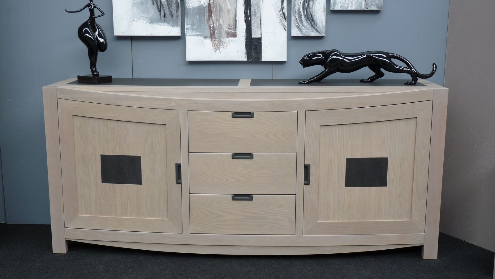 salle manger contemporaine en ch ne blanchi et c ramique. Black Bedroom Furniture Sets. Home Design Ideas