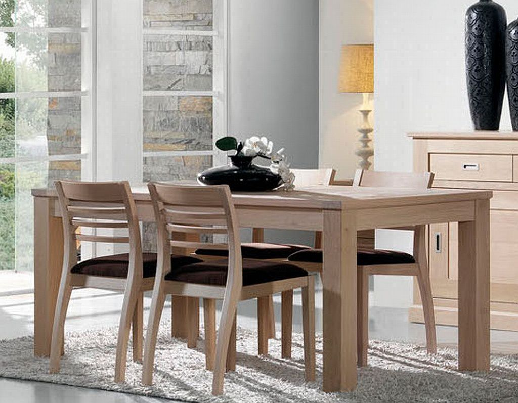 Salle manger contemporaine en ch ne blanchi capri - Table bois massif contemporaine ...