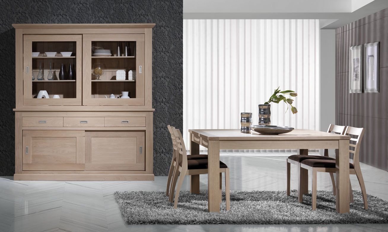 salle manger contemporaine en ch ne blanchi capri. Black Bedroom Furniture Sets. Home Design Ideas
