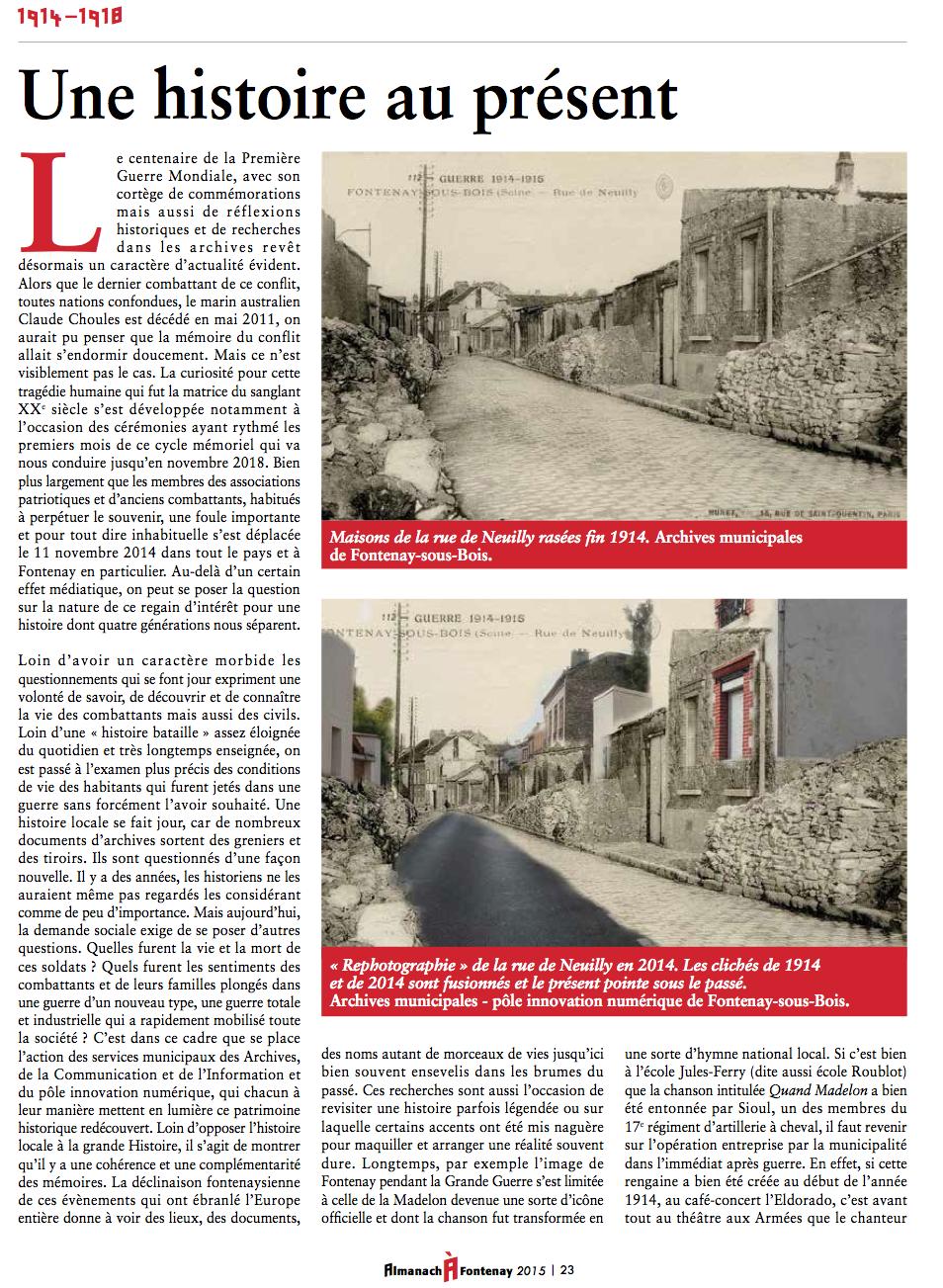 Fontenay dans la Grande guerre: une histoire au présent