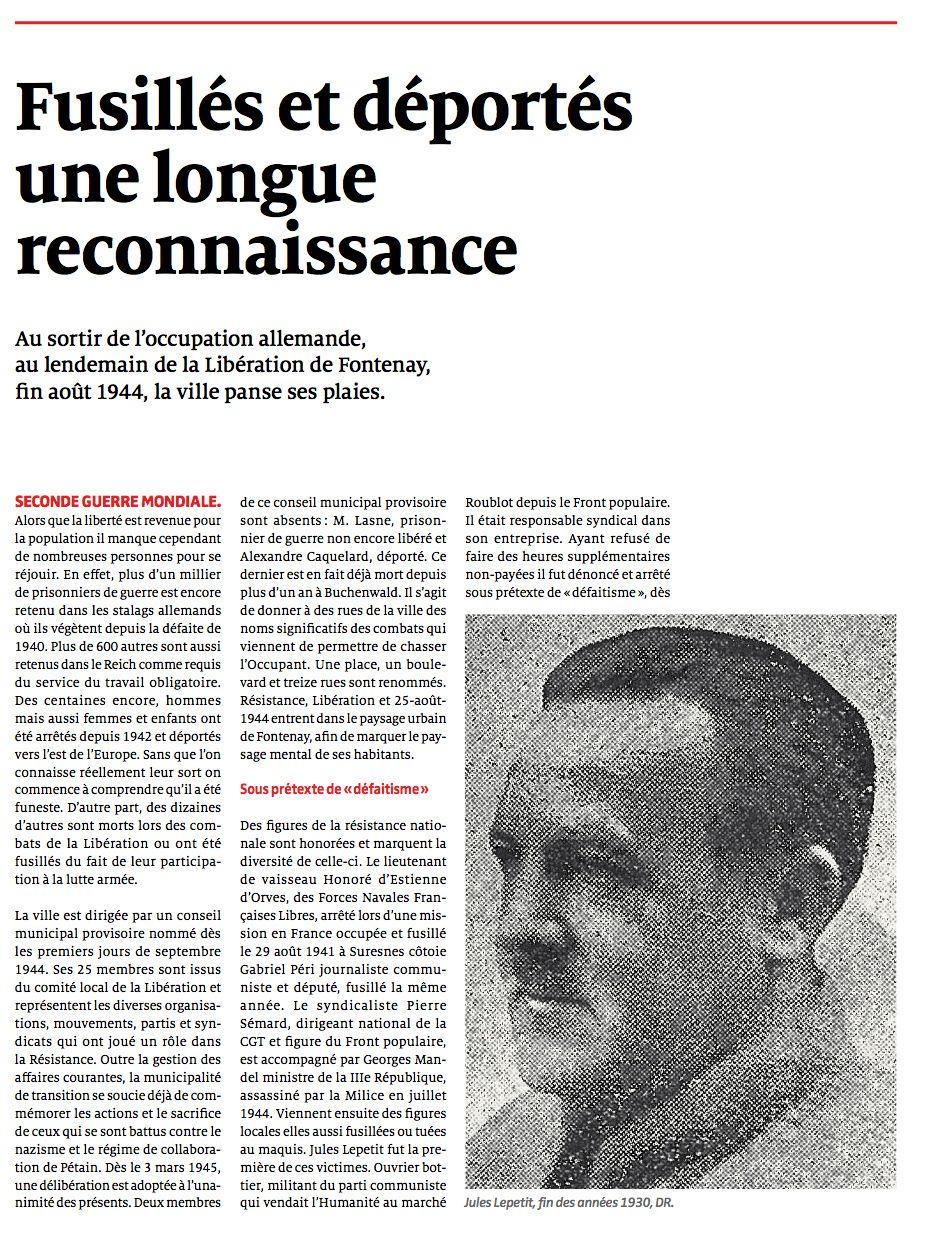 Fusilles et déportés de Fontenay, un hommage au fil des ans...
