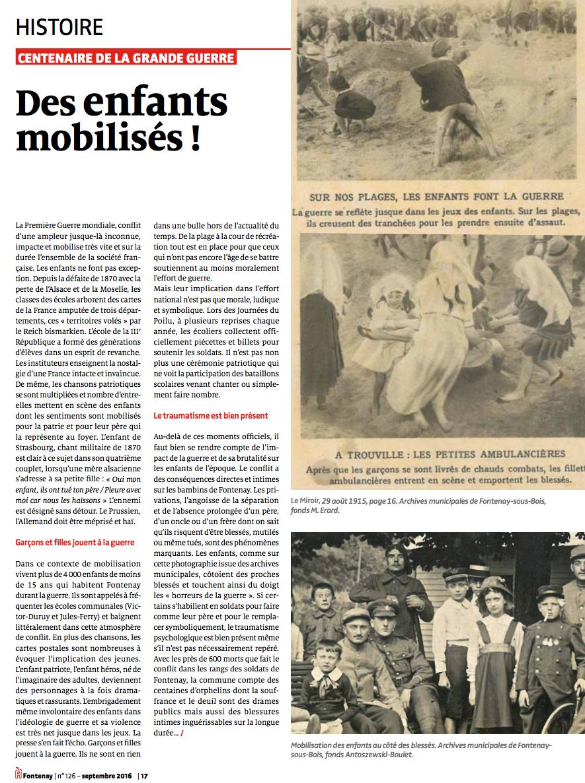 Les enfants mobilisés dans la guerre !