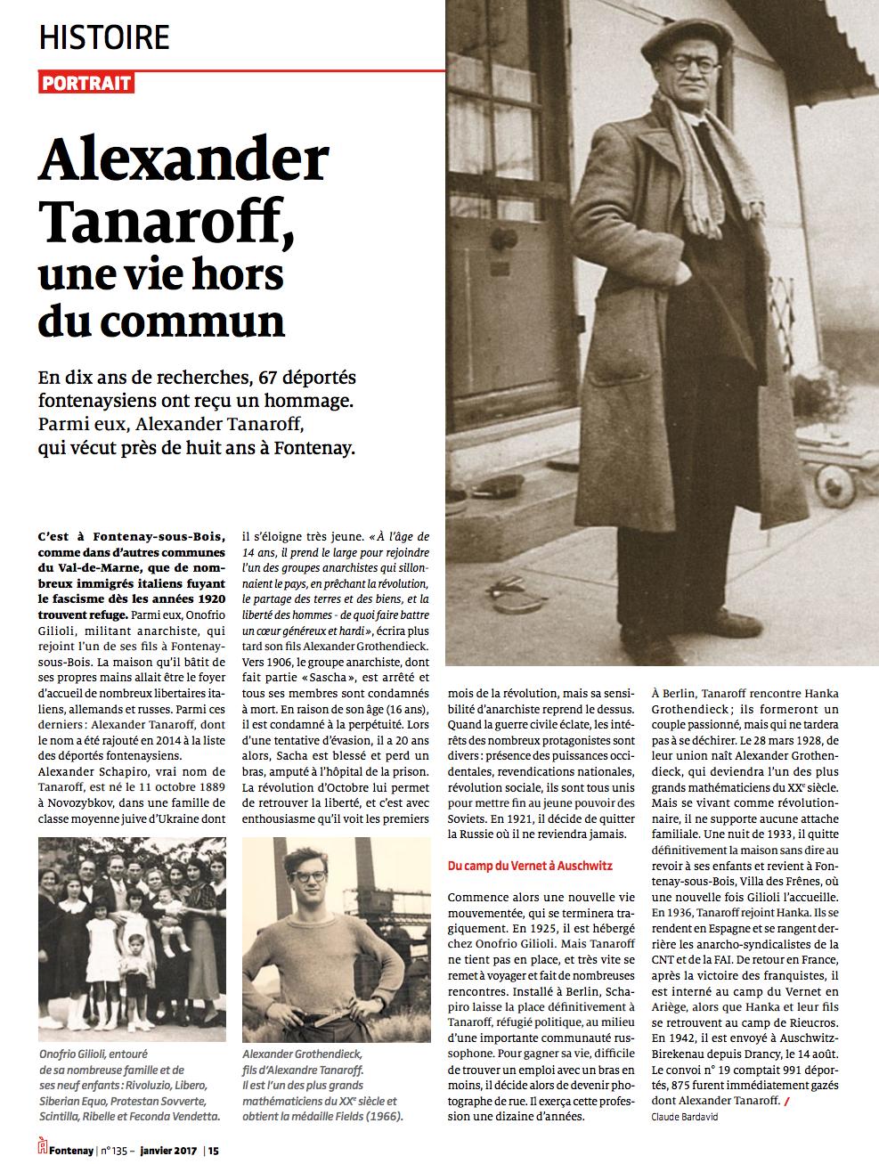 Alexandre Tanaroff anarchiste réfugié à Fontenay-sous-Bois.