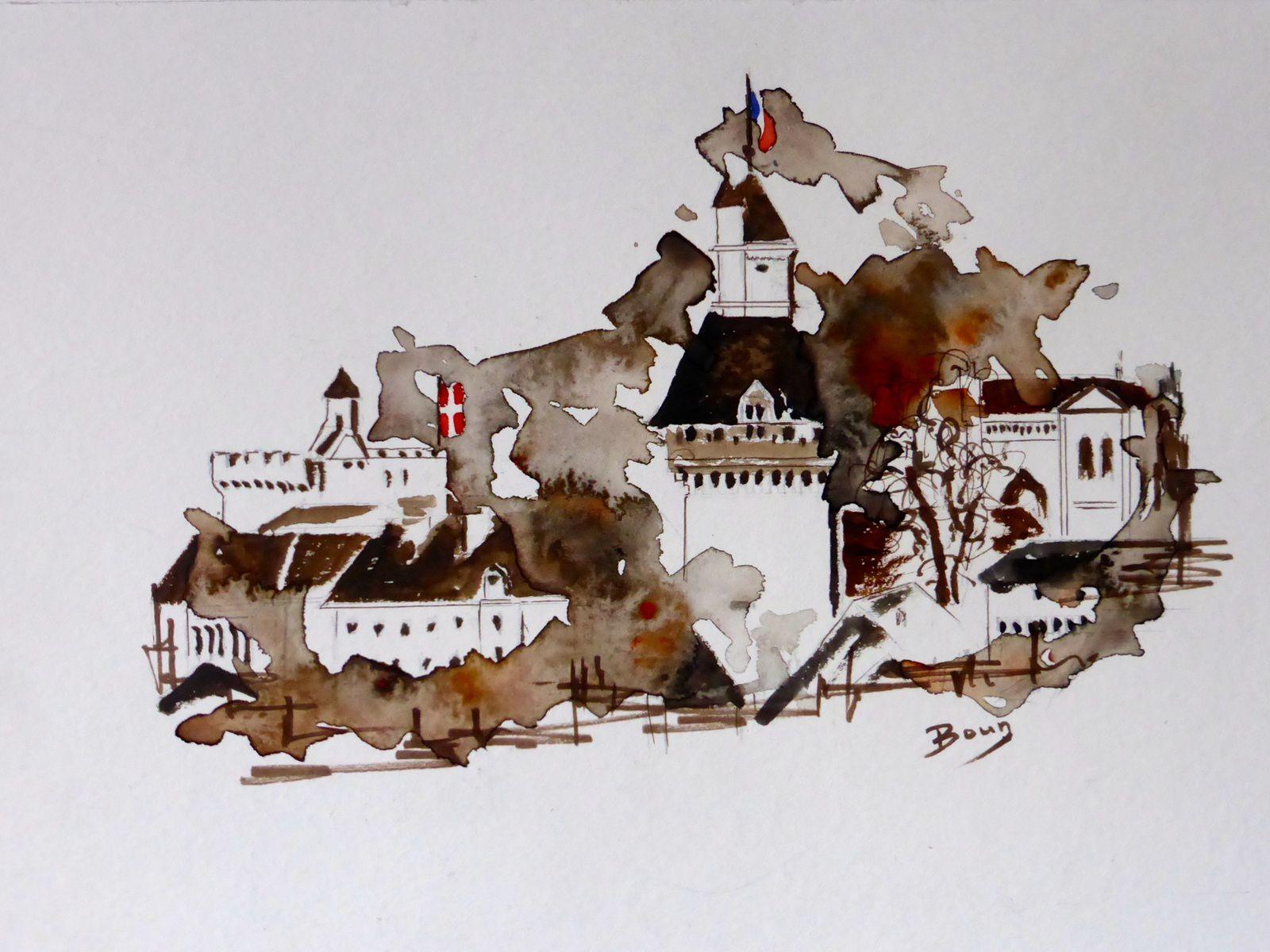 """Mes2 dernières aquarelles: """"Le château de Chambéry"""" en Savoie (20x30 cm)                                         et le village de """"Poët-Laval"""" dans la Drôme (20x30 cm)"""