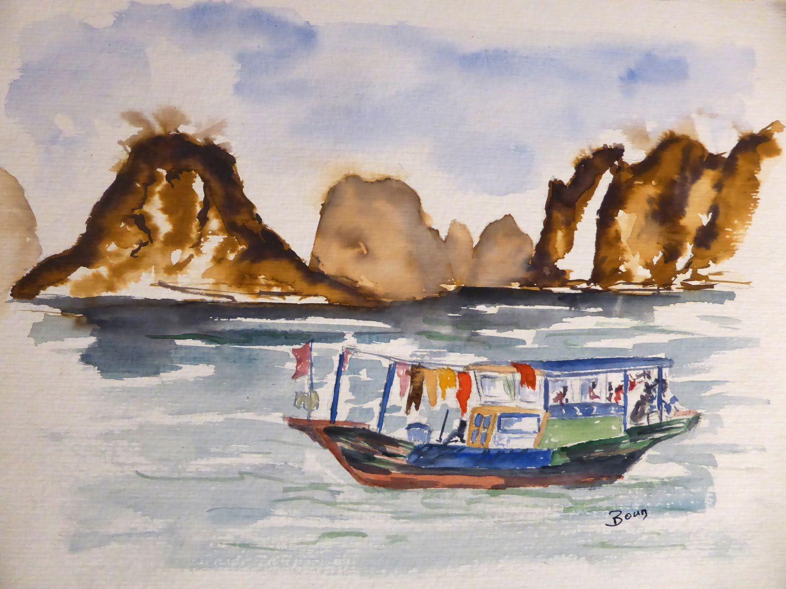 Vietnam- Bateau habitation - Aquarelle (40 x 30 cm)