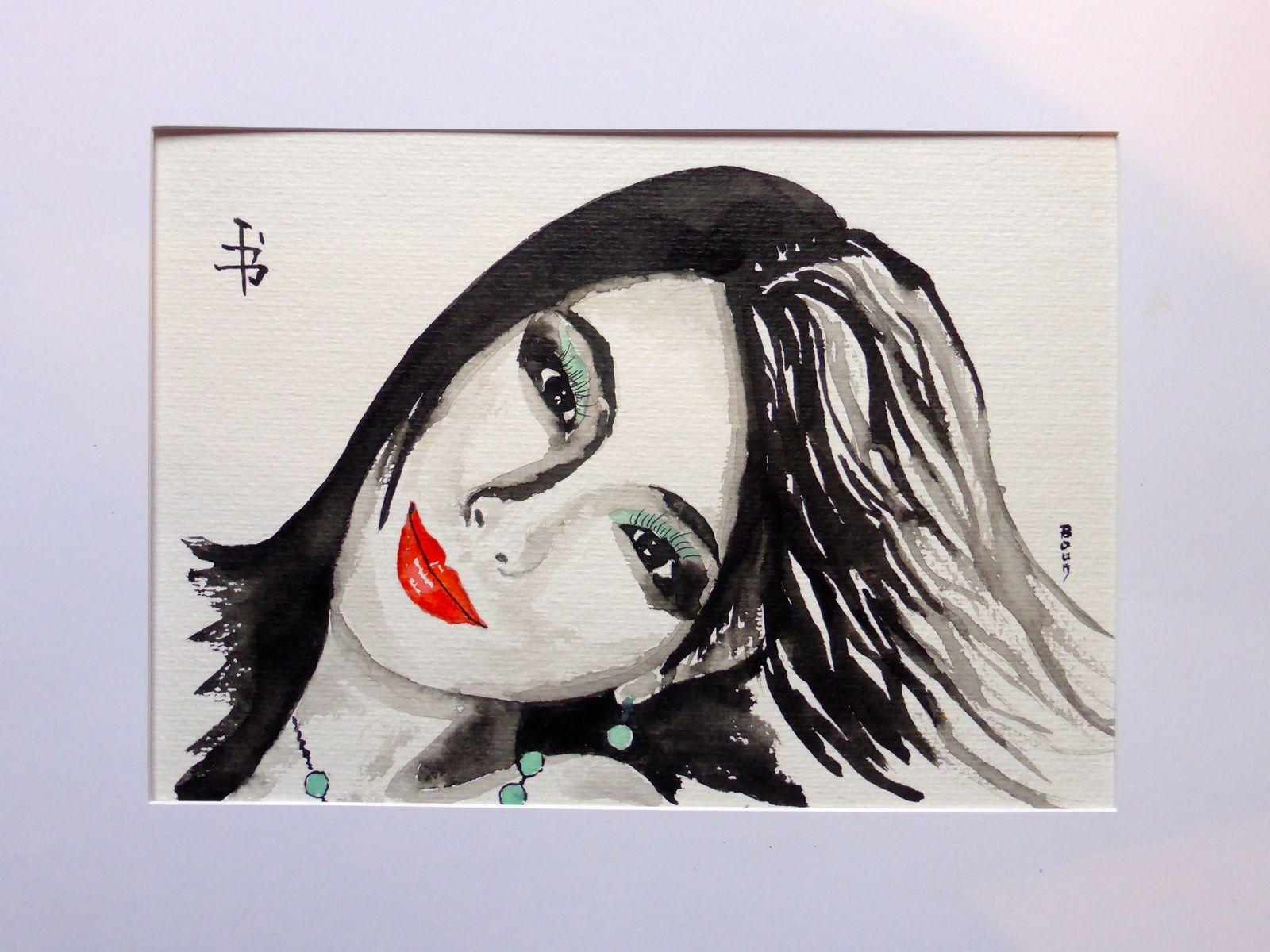 """""""Jeune Japonaise"""" Encre de chine sur papier aquarelle 320gr (20 x 30 cm)"""