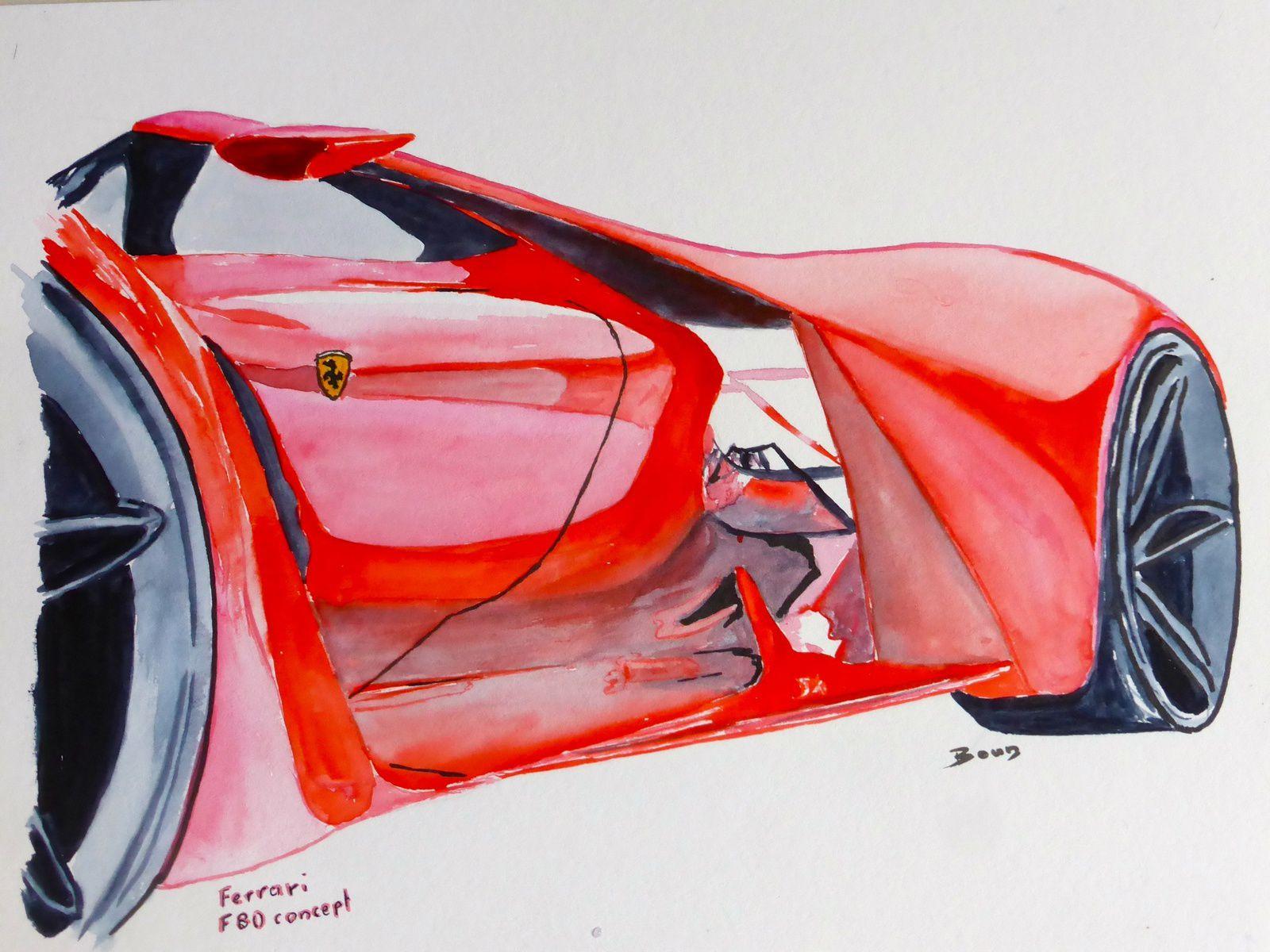 """""""FERRARI F80 Concept""""  Aquarelles  (20x30cm)"""