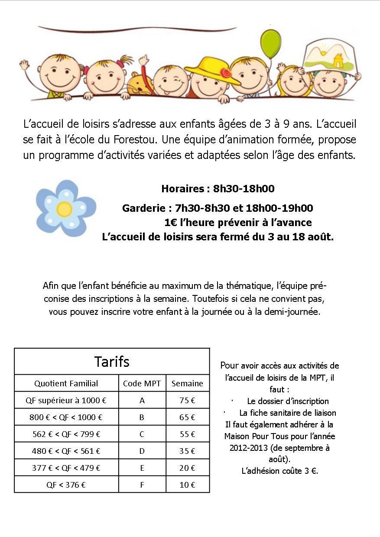 Programme Accueil de Loisirs 3-9 ans Eté 2013