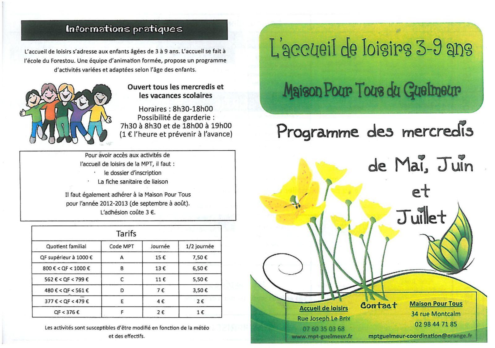 Programme des Mercredis de l'ALSH 3-9 ans