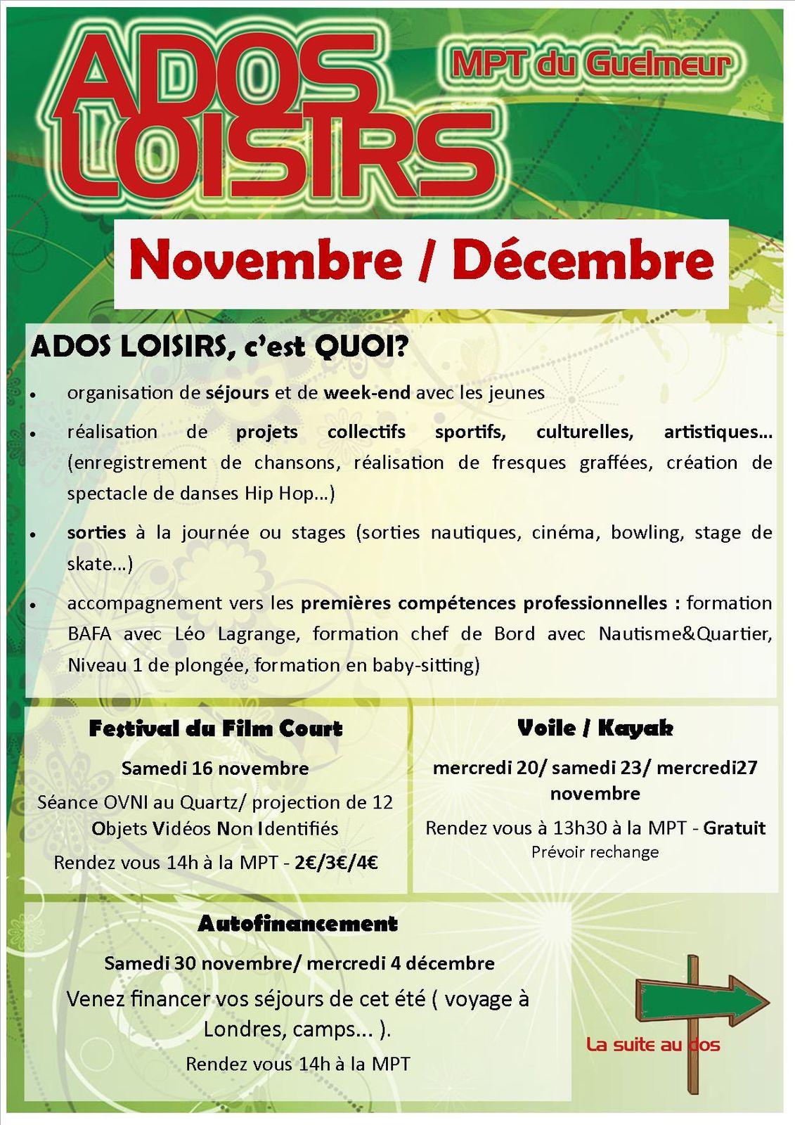 Programme Ados Loisirs novembre/décembre