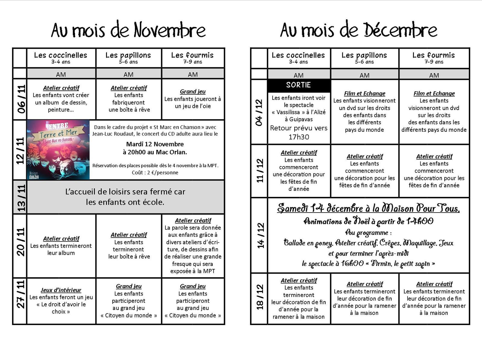 programme alsh novembre décembre