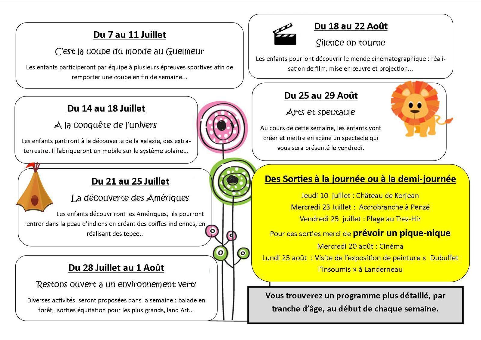 Programme de l'accueil de loisir été 2014