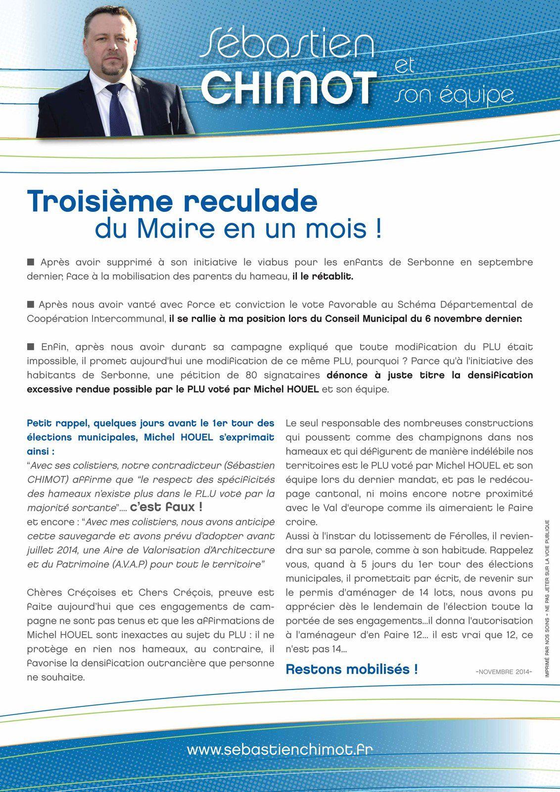 Troisième reculade de Michel HOUEL : le tract !