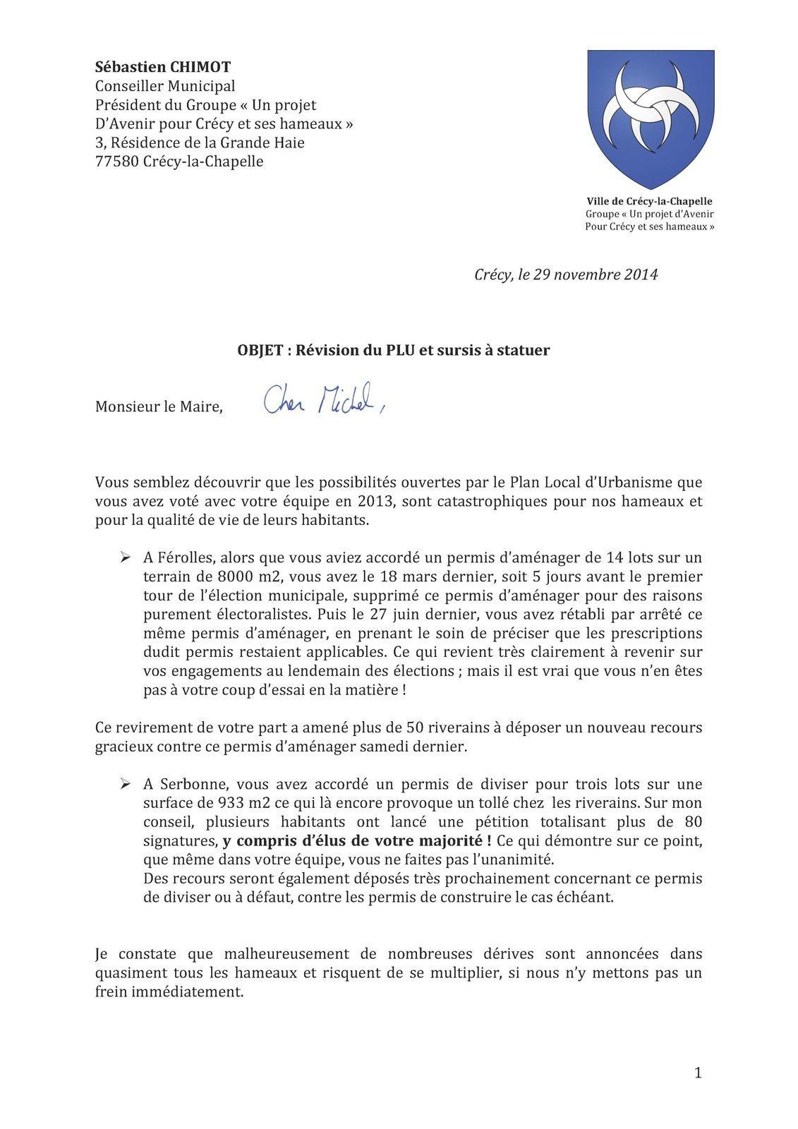 Je demande officiellement une révision du P.L.U à Crécy pour stopper les dérives dans nos hameaux