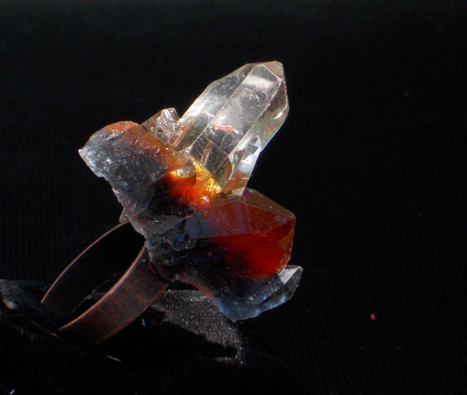 Bague féérique-cristal imaginaire noir et brun