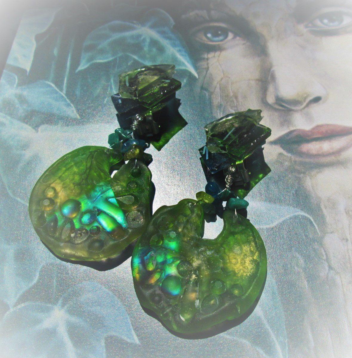 Clis d'oreilles-résine et pierres