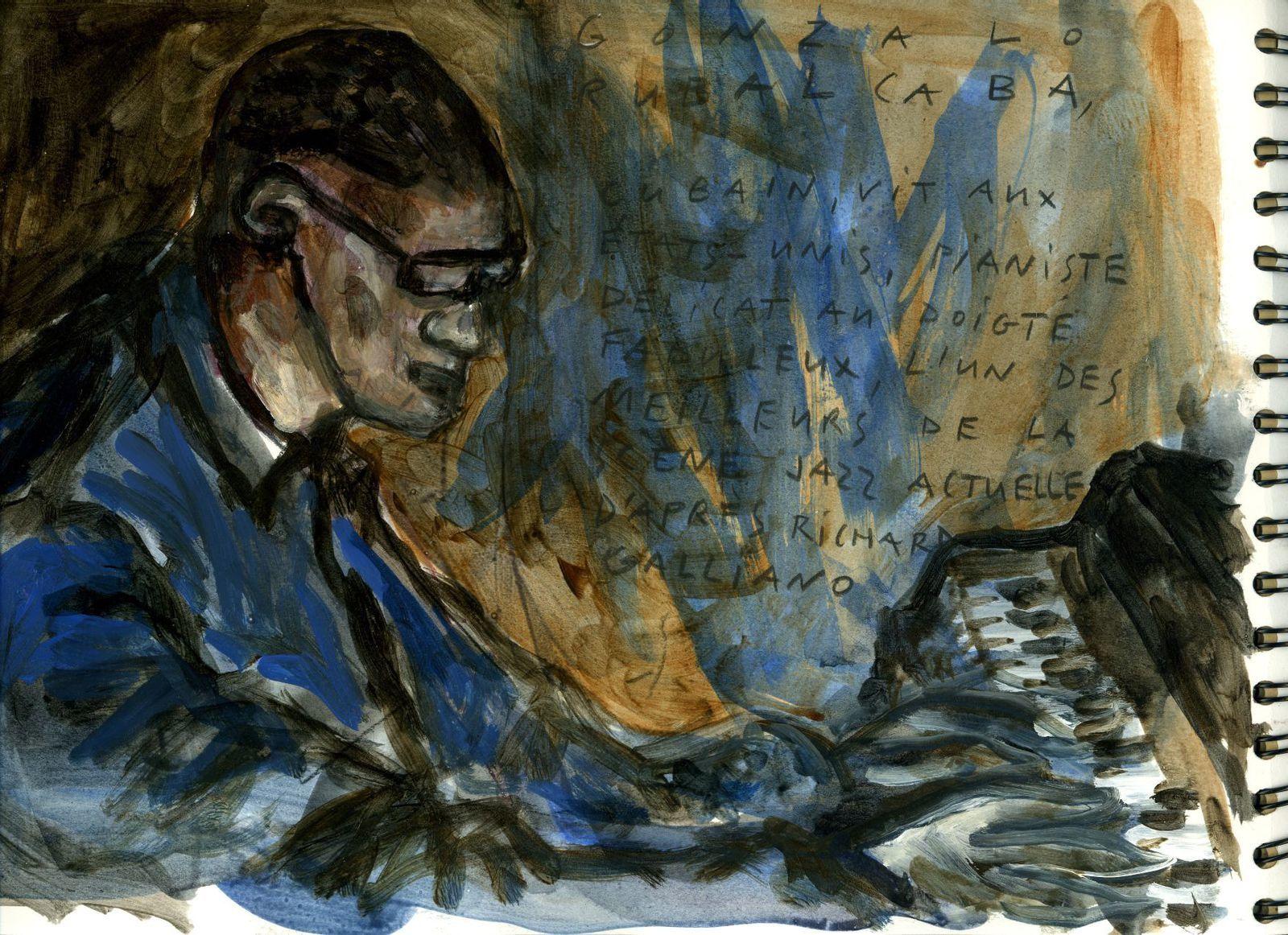 Gonzalo Rubalcaba, piano (acrylique)