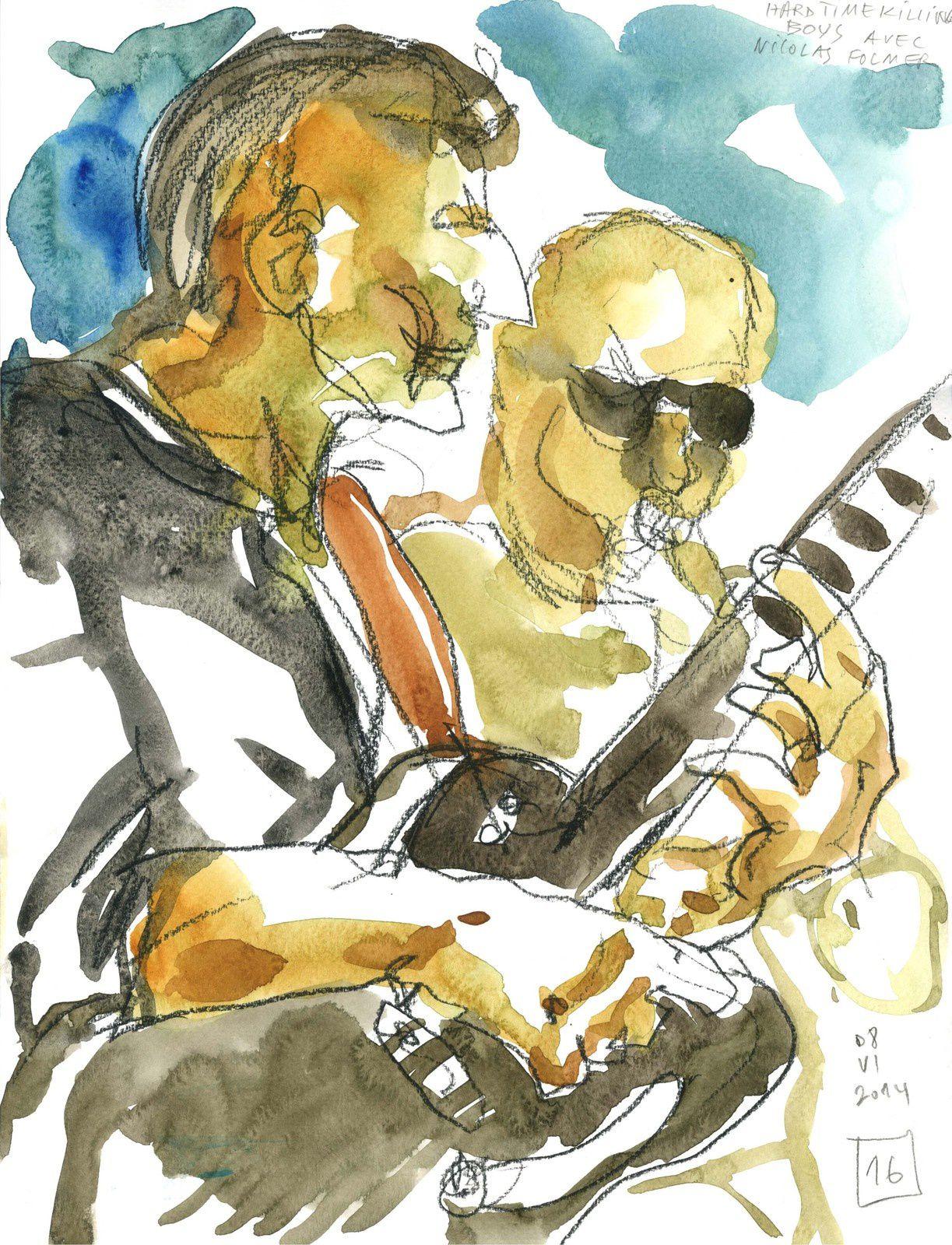 A la fin du concert Nicolas Folmer tape le boeuf bluesy avec les fondus du bayou, YEEEAAHH!